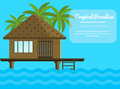 Bungalow on the ocean with palm trees. Tropical, vacation vector illustration for touristic business. Summer holidays banner