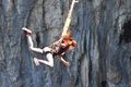 Bungee jump in a cave Royalty Free Stock Photo