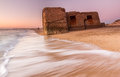 Bunker in ruins on the beach located san fernando province of cadiz andalusia spain it was built camposoto Royalty Free Stock Images