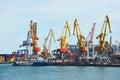 Bunker ship fuel replenishment tanker under port crane odessa ukraine Stock Photos