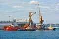 Bunker ship under port crane fuel replenishment tanker odessa ukraine Stock Photography