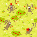 Bunnies and apples Royalty Free Stock Photo