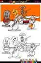 Bunnies band cartoon coloring book