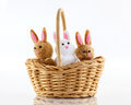 Bunnies in basket a closeup of three little toy a wicker Stock Images