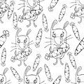Bunnies cartoon seamless pattern, coloring book, sketch, hand drawing, vector background. Funny painted rabbit with a carrot in th