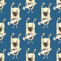 Bunnies cartoon seamless pattern, hand drawing, vector background. Funny painted yellow rabbit with a carrot in the paws on a blue