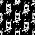 Bunnies cartoon seamless pattern, hand drawing, vector monochrome background. Funny painted white rabbit with a carrot in the paws