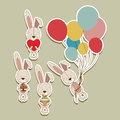 Bunnies design over beige background vector illustration Royalty Free Stock Images
