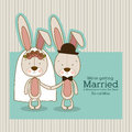 Bunnies design over lineal background vector illustration Royalty Free Stock Photo