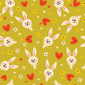 Bunnies flowers and hearts seamless pattern