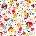 Bunnies and flowers pattern