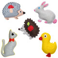 Bunnies hedgehogs cat and duckling kids toys Royalty Free Stock Photo