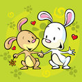 Bunnies in love cartoon illustration Stock Image