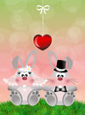 Bunnies nice illustration of two in love Royalty Free Stock Photography