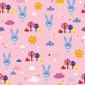 Bunnies seamless pattern