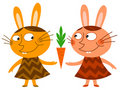 Bunnies sharing a carrot Royalty Free Stock Photos
