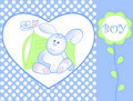 Bunny for baby boy - arrival announcement Royalty Free Stock Photos