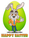 Bunny cartoon character. Happy Easter greeting card. Cute rabbit showing thumb up, green egg on background.