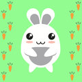 Bunny cartoon character rabbit japanese with carrots Stock Image