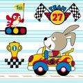 Bunny cartoon the funny car racer