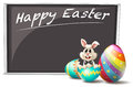 A bunny and the cracked easter egg illustration of on white background Royalty Free Stock Photos