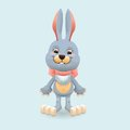 Bunny cute isolated on blue background Stock Image