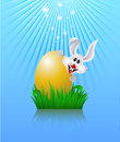 Bunny and easter egg sitting in the grass holding an gold on a background of sunbeam eps Royalty Free Stock Photos