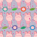 Bunny fat symmetry natural seamless pattern Royalty Free Stock Photo