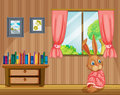A bunny feeling cold inside the house illustration of Stock Photography