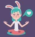 Bunny girl meditading thinking over liefde Stock Afbeelding