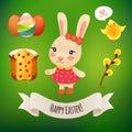 Bunny girl och påsksymboler Royaltyfri Fotografi
