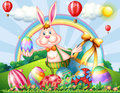 A bunny at the hilltop with easter eggs illustration of Royalty Free Stock Image