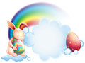 A bunny holding an egg while sleeping in front of a rainbow illustration on white background Stock Photo