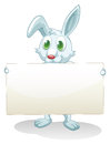 A bunny holding an empty banner illustration of on white background Stock Photo