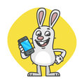 Bunny laughs and Holds Mobile Phone