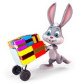 Bunny with lots of gifts Stock Photography