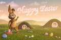 Bunny pointing at clouds forming the words happy easter a cute surrounded by eggs have formed in sky by Royalty Free Stock Photos