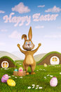 Bunny pointing at clouds forming the words happy easter a cute surrounded by eggs have formed in sky by Royalty Free Stock Image