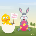 Bunny rabbit chick with easter egg a happy greeting card a cute holding a and a into an eggshell in a meadow eps file Stock Photo