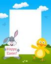 Bunny rabbit chick photo frame easter vertical with a cute holding a banner and a funny smiling in a meadow eps file available Stock Images