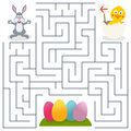 Bunny rabbit easter eggs maze for kids game children help the find the way to the eps file available Stock Photography