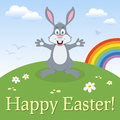 Bunny rabbit happy easter card a greeting with a cute in a meadow with flowers and the rainbow eps file available Stock Images