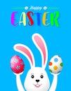 Bunny rabbit holding Easter eggs.