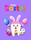 Bunny tooth character with eggs of Easter day.
