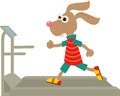 Bunny on a treadmill cute is running eps Royalty Free Stock Image