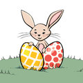 Bunny with two easter eggs colored sitting in grass Royalty Free Stock Photography