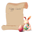 A bunny with two easter eggs illustration of on white background Stock Photography