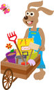 Bunny with wheelbarrow cute carry a garden supplies eps Stock Photo