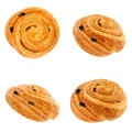 Bunroll with raisins from different angles. Isolation Royalty Free Stock Photo