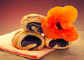 Buns with poppy seeds closeup Royalty Free Stock Photo